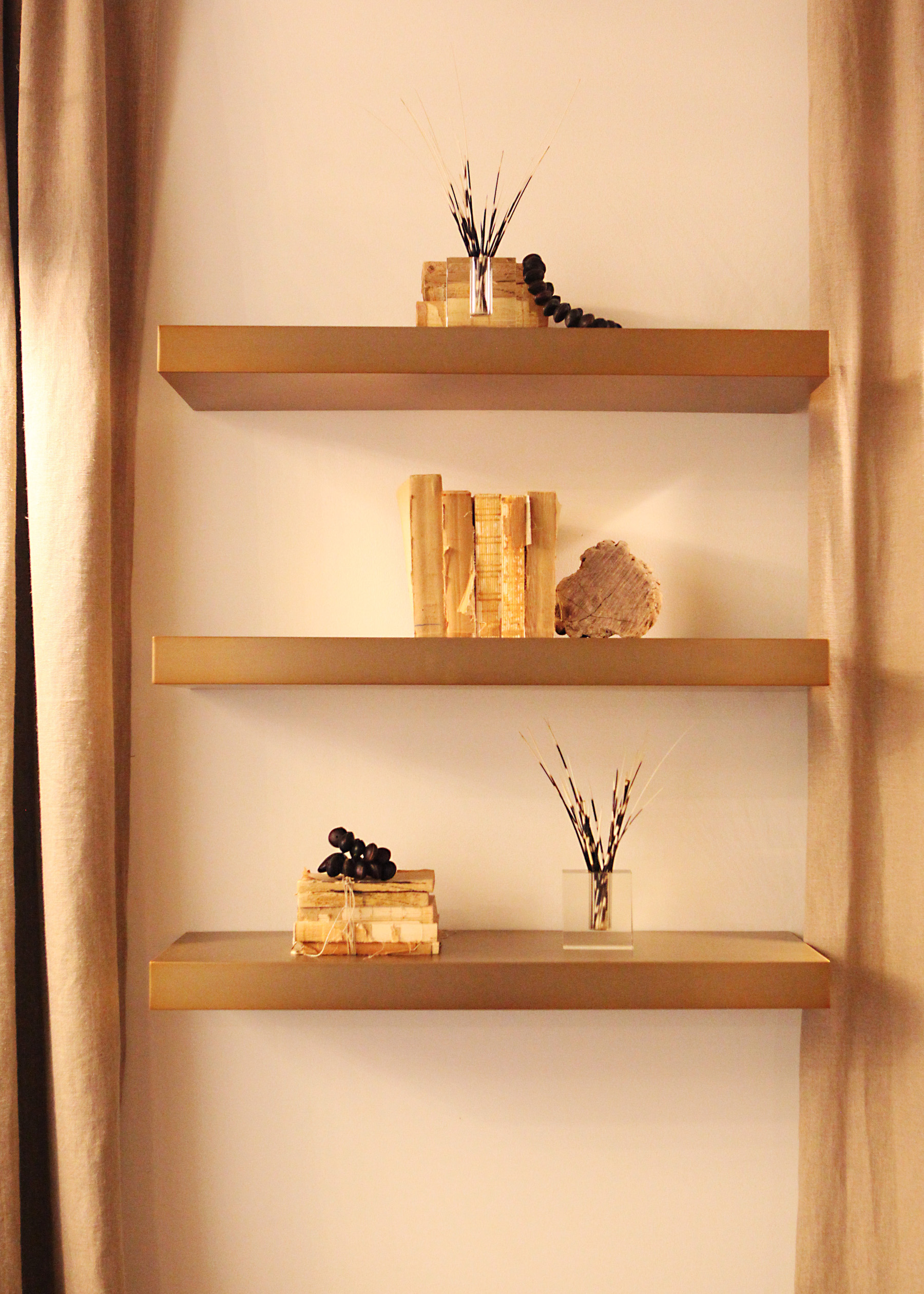 Bookshelves layered with accessories