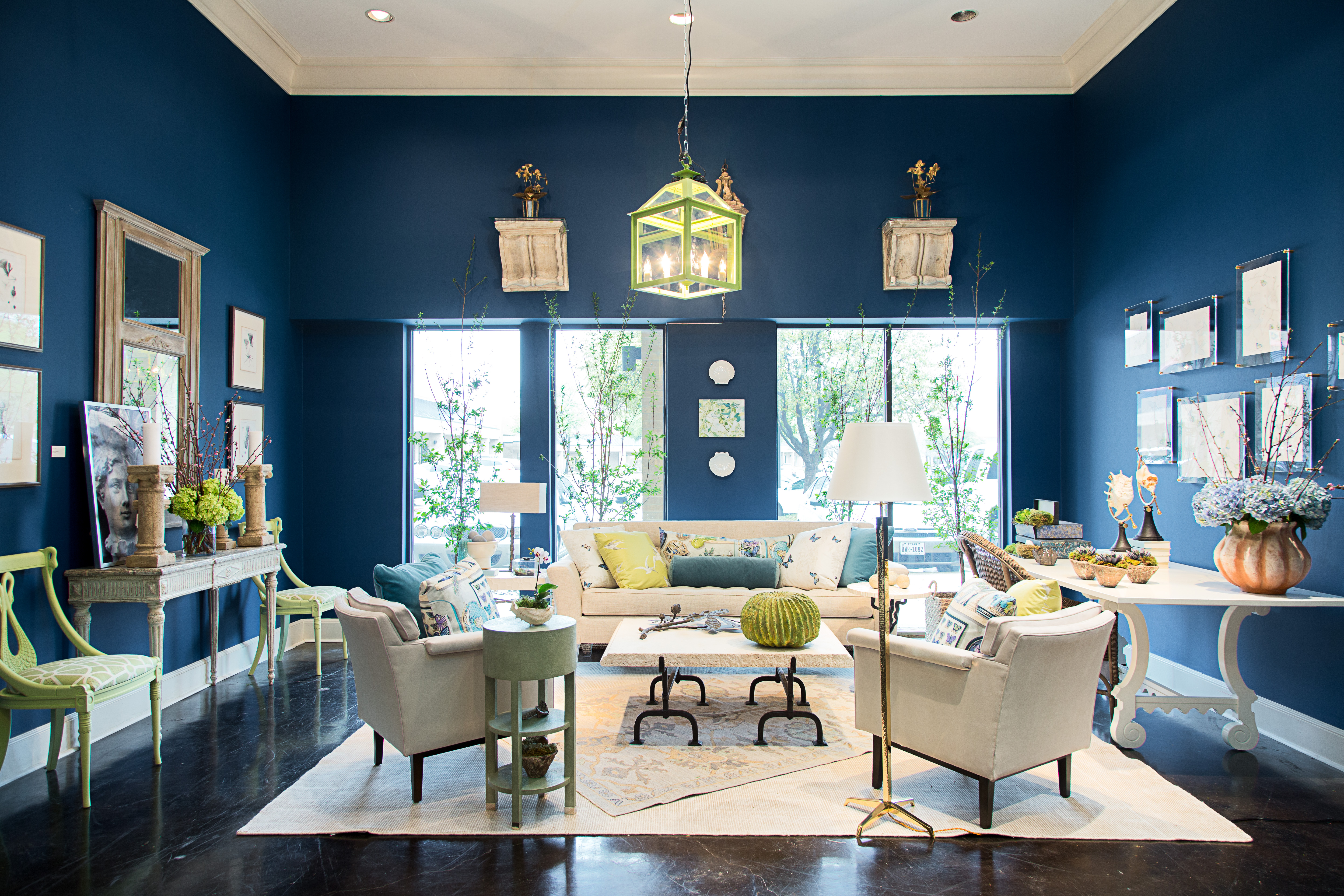 Blue interior design vignette for Dwell With Dignity - DWD-ThriftStudio2018
