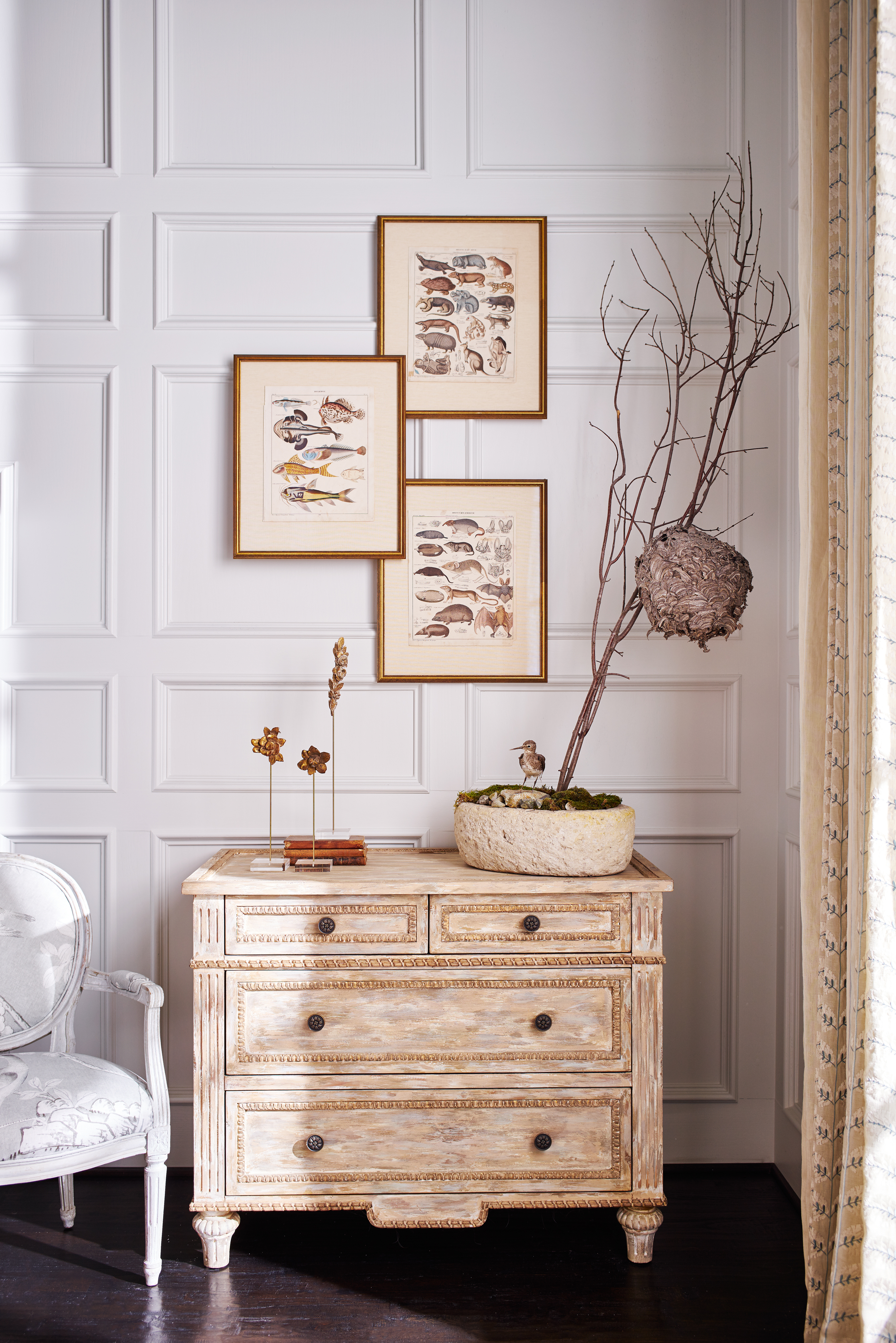 Living Room vignette with dresser and found accessories